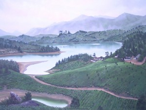 Oil Painting of Munnar Tea Plantation, Kerela by Anne Marie Peterson-Kolatkar