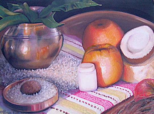 Hindu Offering Oil Painting, Still Life by Anne Marie Peterson-Kolatkar