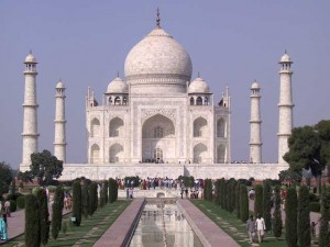 This is a photo of the Taj Mahal located in Agra, India.