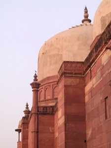 This is a photograph of a domed roofline in Fatehpur Sikri.