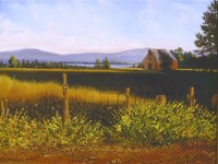 This is a photo of an oil painting by Anne Marie Peterson-Kolatkar of the famous wooden barn in the town of Chestor, Lake Almanor CA
