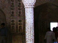 This is an image of a hand-carved column in Agra, India.