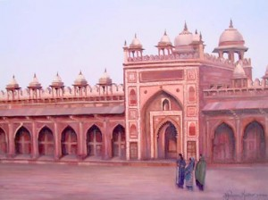 This image is an oil painting by Anne Marie Peterson-Kolatkar of Moghul palace Fatehpur Sikri in Agra, India.