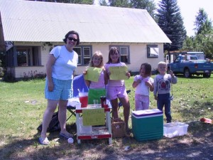 This photo is of little kids in Chester selling freshly made Kool Aid.