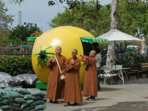 This is a photo of three Asian monks in long brown gowns drinking lemonade. Behind them is a fiberglass shack shaped like a lemon that measures 15 by 20 feet.