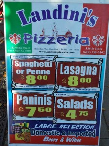 This is a photo of a sandwich board advertizing pizza prices. Ha, ha!