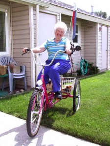 This is a photo of Shirley Fichera from Chester, CA on her three-wheeler bike.