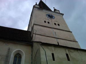 Church tower of Heltau with lightening rod