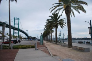 This is a photo of the Vincent Thomas Bridge in the Port of San Pedro, Los Angeles, CA.