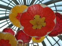 This is a photo of a hand painted umbrella hanging from the ceiling of the Bellagio Hotel and Casino in Las Vegas, NV.