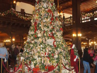 This is a photo of the main Christmas tree in the lobby of the Hotel Del, Coronado Island, San Diego, CA.