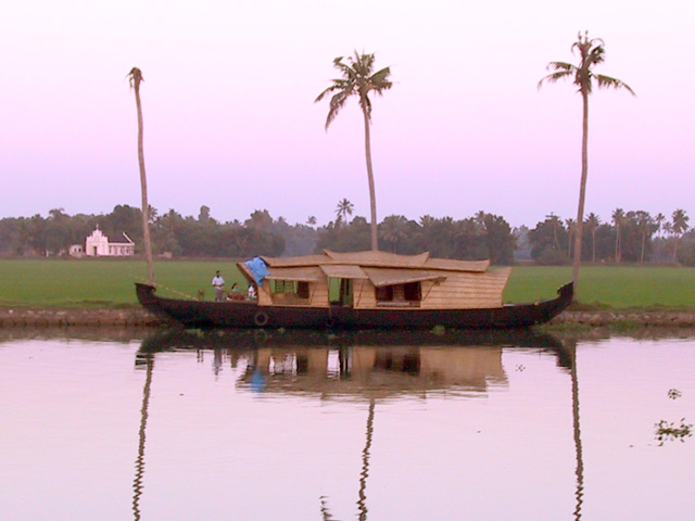 Kettuvallam (Converted rice barge for Kerala Tourism); Kerala Boat, Houseboat; Anne Marie Peterson-Kolatkar photography; copyright 2002