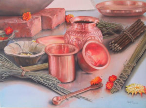 Hindu Fire Ceremony, oil painter Anne Marie Peterson-Kolatkar, Art, India
