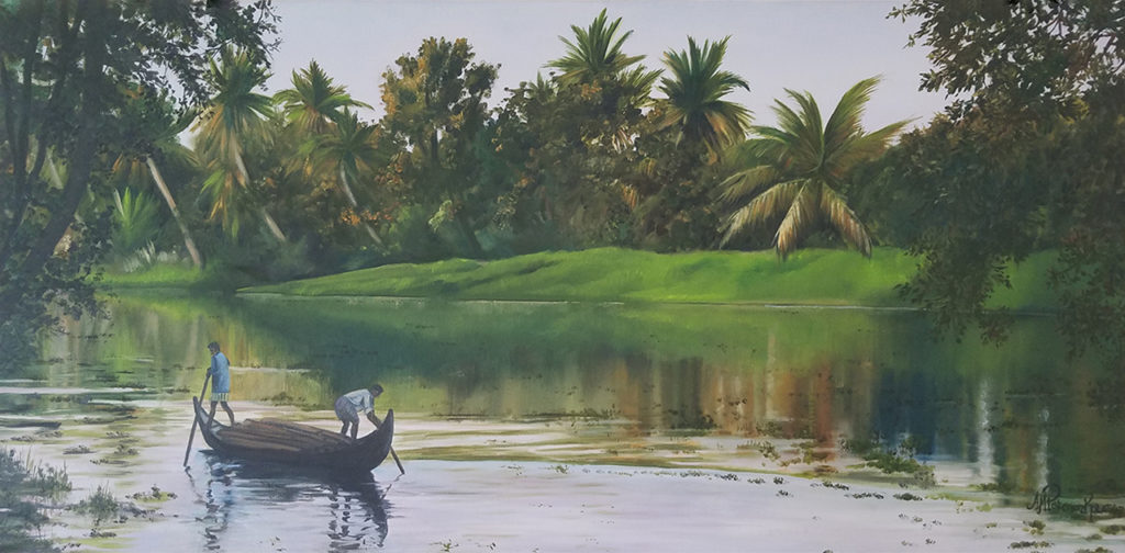 "Oil painting by Anne Marie Peterson-Kolatkar titled ""Kerala Waterway Workers"" (c)2017"