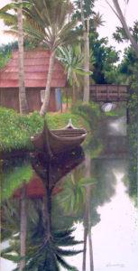 Oil painting by Anne Marie Peterson-Kolatkar, Kerala Boats