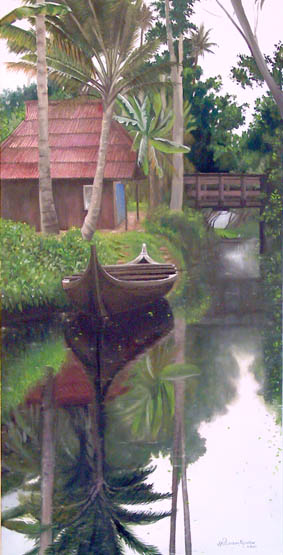 Oil painting by Anne Marie Peterson-Kolatkar, Kerala Boat