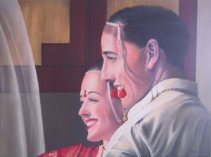 Portrait of Happiness Hindu Wedding Ceremony by oil painter Anne Marie Peterson-Kolatkar